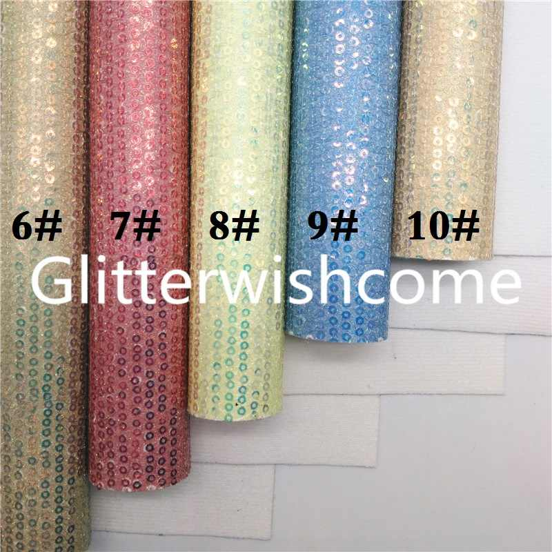 Glitterwishcome 21X29CM A4 Size Pastel Colors Sequines Glitter Leather fabric Vinyl for Bows, GM804A