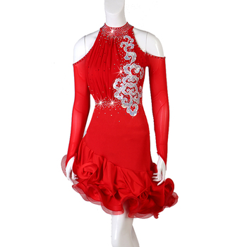 Rouge Latin danse jupe femmes 2019 nouveau Design col haut Sexy Tango Rumba Samba robe latine adulte Latin compétition robes de danse