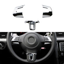 ABS Chrome Car Steering Wheel Decoration Cover Trim Sticker Fit for Volkswagen VW GOLF POLO JETTA MK5 MK6 Bora Accessories(China)