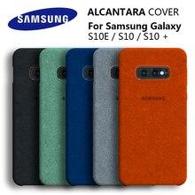 Samsung s10e capa 100% original genuína, capa para galaxy s10plus s10 + s10e alcantara capa em couro premium, proteção completa 5 cor
