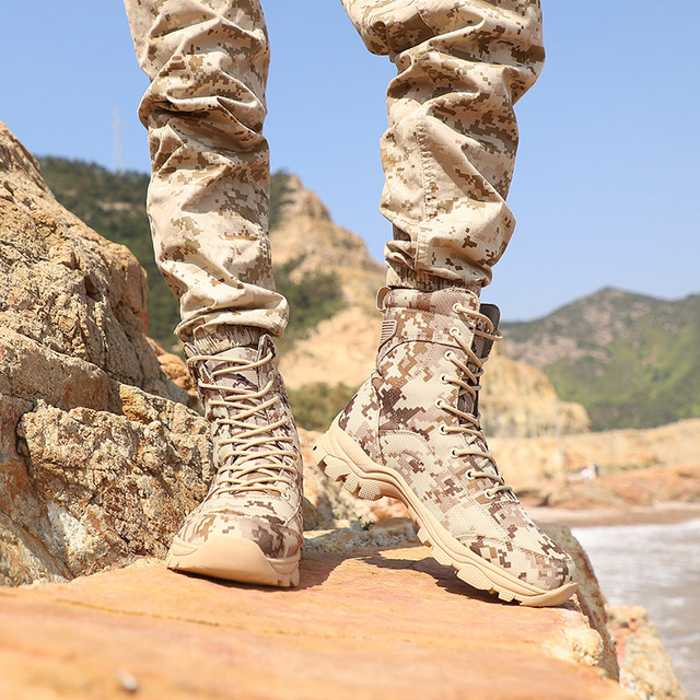 Outdoor Desert Military Camo Breathable Hiking Shoe Spring Autumn Men Hunting Climbing Leather Wearproof Tactical Training Boots 5