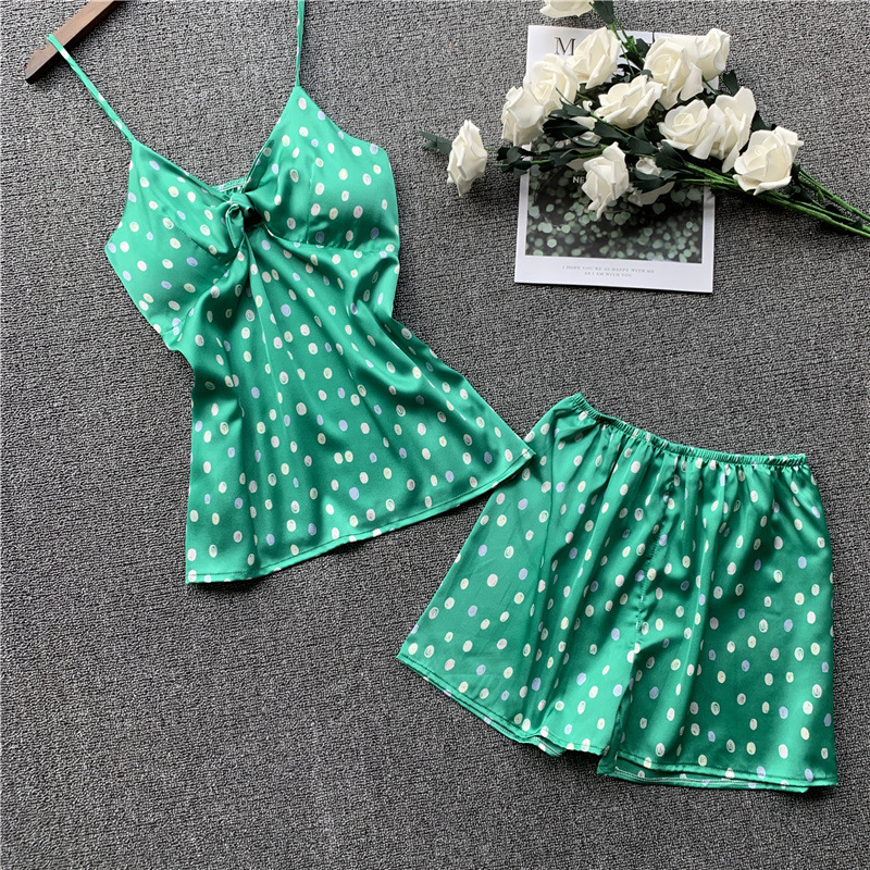 JULY'S SONG Fashion 2 Piece Stain Silk Top And Shorts Women Pajamas Set Summer Wave Point Cute Pajamas Sling Short Home Wear