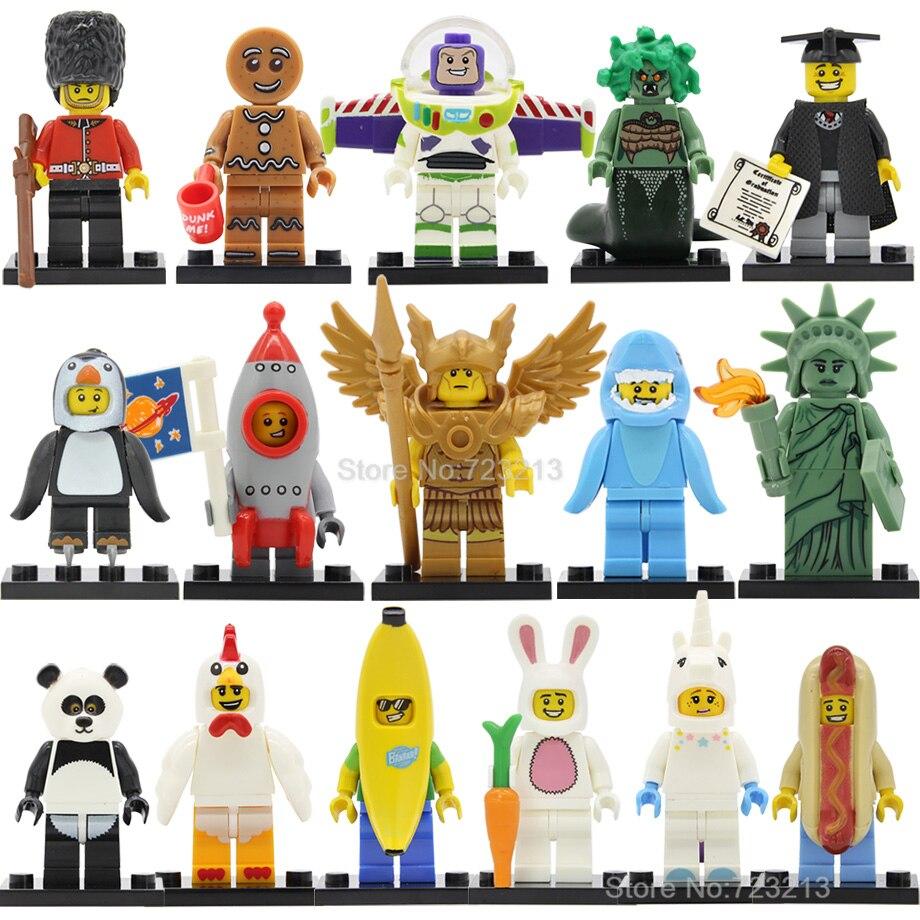 Chicken Unicorn Panda Figure Man Single Sale Statue Of Liberty Golden Saint Medusa Buzz Lightyear Building Blocks Toys Legoing