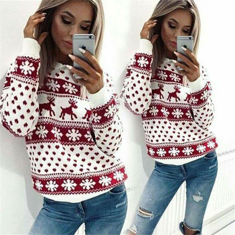 New Year Women's Christmas Xmas O Neck Long Sleeve Hoodie Sweatshirt Jumper Deer Printed Pullover Tops