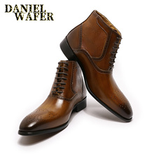 MENS BOOTS Formal-Shoes BROWN BLACK Genuine-Leather Lace-Up Pointed-Toe LUXURY Fashion-Brand