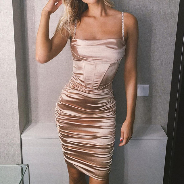 Townlike Pleated Sling Bodycon Bandage Dress Women Midi Diamond Sexy Party Dresses 2020 Satin Strapless Summer Dresses Vestidos 1