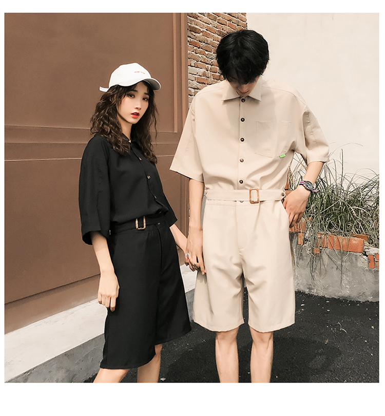LAPPSTER Jumpsuit Men Harajuku Belt 2020 Summer Couple Women Jumpsuit Plus Size Black Cargo Overalls Pants Korean Style Fashion 76
