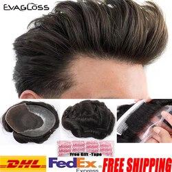 Мужской парик EVAGLOSS, 100% натуральные человеческие волосы Remy, парик с французским кружевом, тонкие полиуретановые волосы для замены, Мужская Т-...