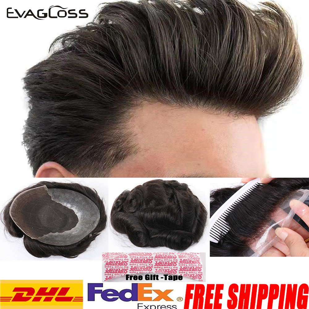 EVAGLOSS Men Toupee Hairline 100% Real Natural Indian Remy Human Hair Men Wig Swiss Lace Thin PU Toupee Hair Replacement System