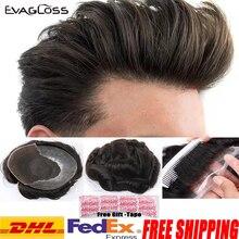 EVAGLOSS erkek peruk 100% gerçek doğal Remy insan saçı erkek peruk fransız dantel ince PU peruk saç değiştirme sistemi