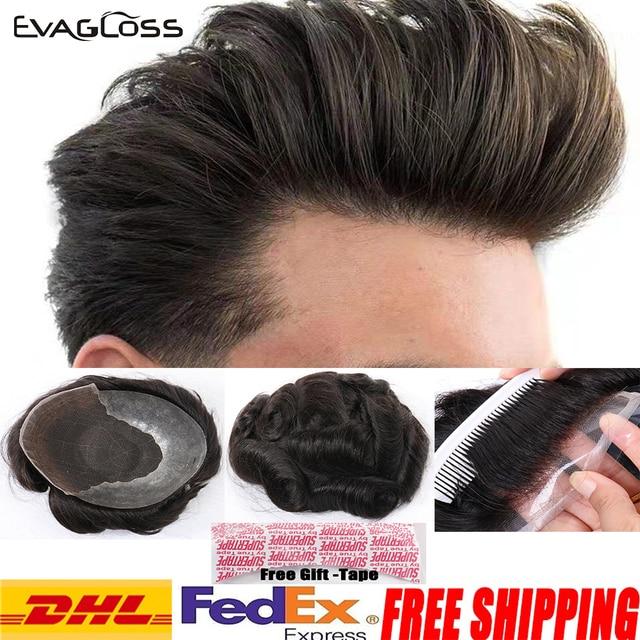 Evaglossメンズかつら 100% 本物の自然なレミー人間の髪かつらフレンチレース薄型puかつらの毛の交換システム