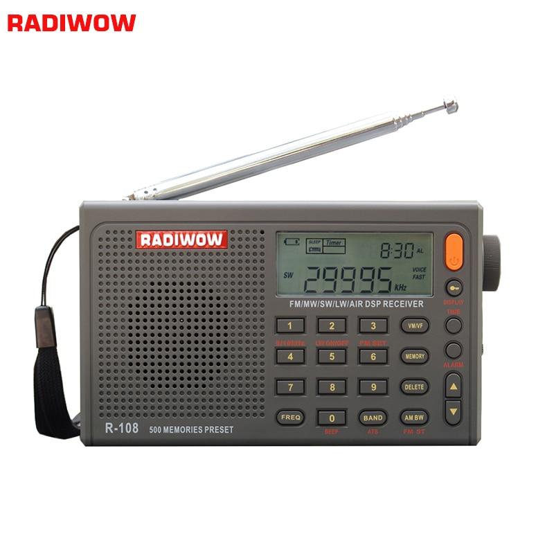 RADIWOW R-108 Radio numérique Portable Radio FM stéréo/LW/SW/MW/AIR/DSP récepteur avec LCD/son de haute qualité pour intérieur et extérieur
