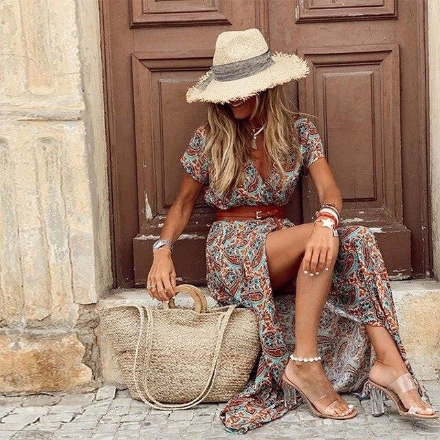 Womens Long Dress Summer V-neck 3