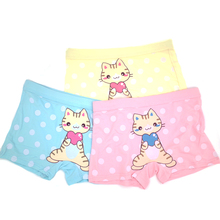 3 pieces / batch fashionable childrens underwear girlsflat pants girls cotton shorts cute animal design