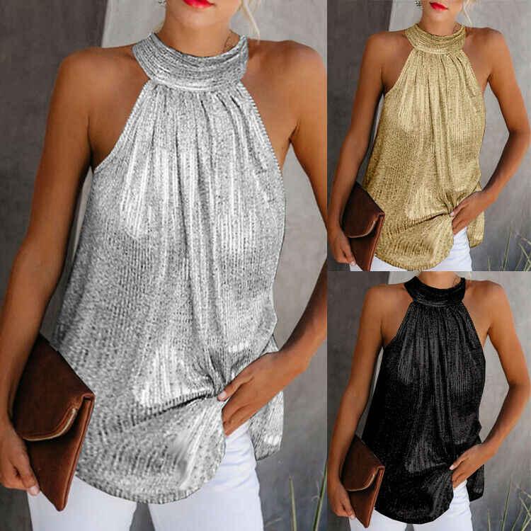 Kobiety złoty bluzka 2019 nowych moda wysoka Neck bez rękawów Hatler zbiornik wierzchnia kamizelka letnia sukienka na co dzień luźne bluzka koszula Tee
