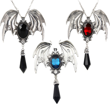 Vintage Victorian bat wing Gothic Crystal Pendant necklace Sweater Chain Jewelry Halloween Gift For Teen Women Men Necklaces недорого