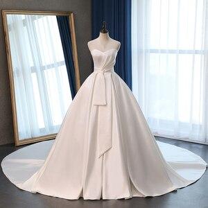 Image 3 - Fansmile saten Vestido de Noiva zarif balo elbisesi düğün elbisesi 2020 uzun tren gelin balo elbisesi artı boyutu özelleştirilmiş FSM 072T