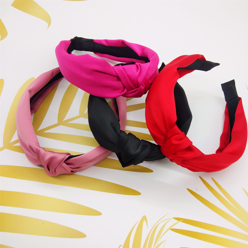Free shipping elegant solid knot women hairbands girl's headbands ins wide lady's headwear hair accessories(China)