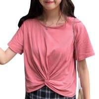 Camiseta de manga corta de verano de color sólido de adelgazamiento corto camisa harajuku camiseta pokemon ropa mujer camiseta amigos