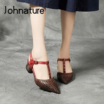Johnature High Heels Sandals Women Shoes Genuine Leather 2020 New Summer Mixed Colors Retro Buckle Strap Casual Ladies Sandals