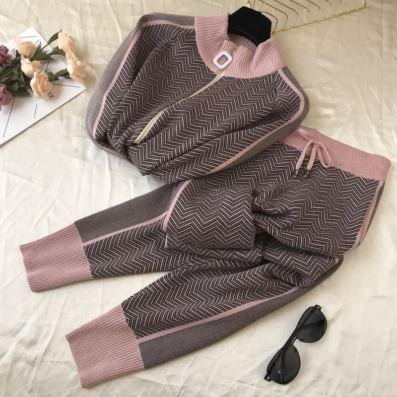Fall Winter New Tracksuit Woman Color Patchwork Turtleneck Zipper Knitted Cardigans+Pants 2PCS Sets Long Sleeve Knit Top Trouser 63