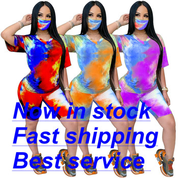 Women's Summer 2 Pieces Colorful Tie Dye Print Short Sleeve T-Shirt Bodycon Sportswear Tracksuit Sets Outfit