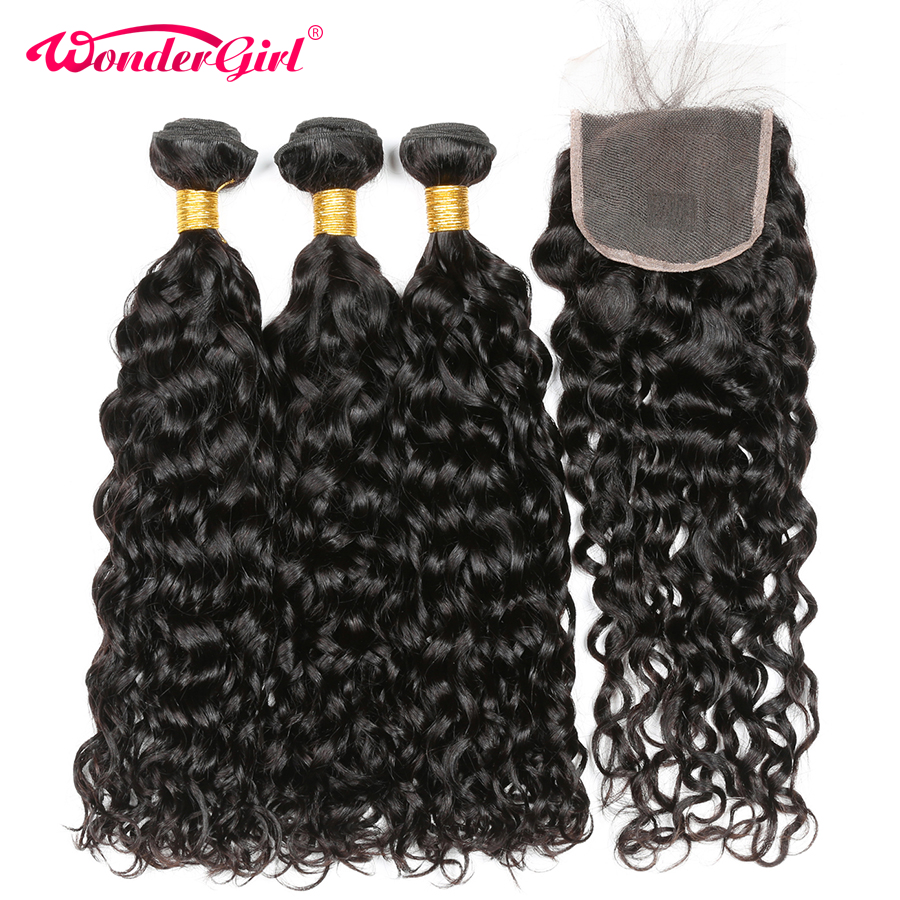 Malaysian Water Wave Bundles With Closure Remy Human Hair Bundles With Closure Wonder Girl 3 Bundles With Closure No Tangle
