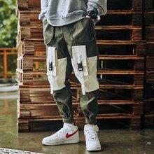 Degli uomini di modo di Splicing Pantaloni di Nuovo Stile di HipHop Tute E Salopette Pantaloni di Nuovo di Estate di Sesso Maschile Morbido Fresco Allentato Allaperto Streetwear