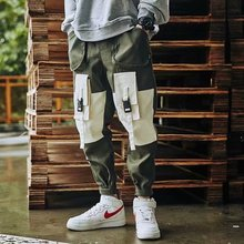 Fashion Mens Splicing Pants New Style HipHop Overalls Pants New Male Summer Soft Cool Loose Outdoor Streetwear