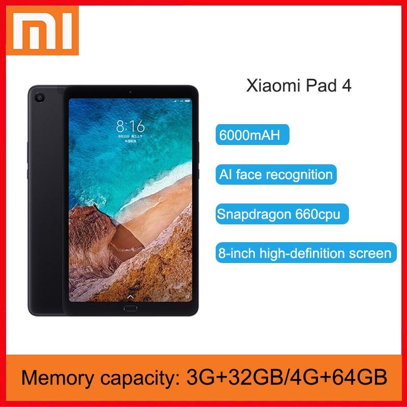 Original xiaomi mi almofada 4 32gb/64gb comprimidos 4 snapdragon 660 aie cpu tablet 8.0 16:10 tela 13mp bluetooth 5.0 6000mah bateria