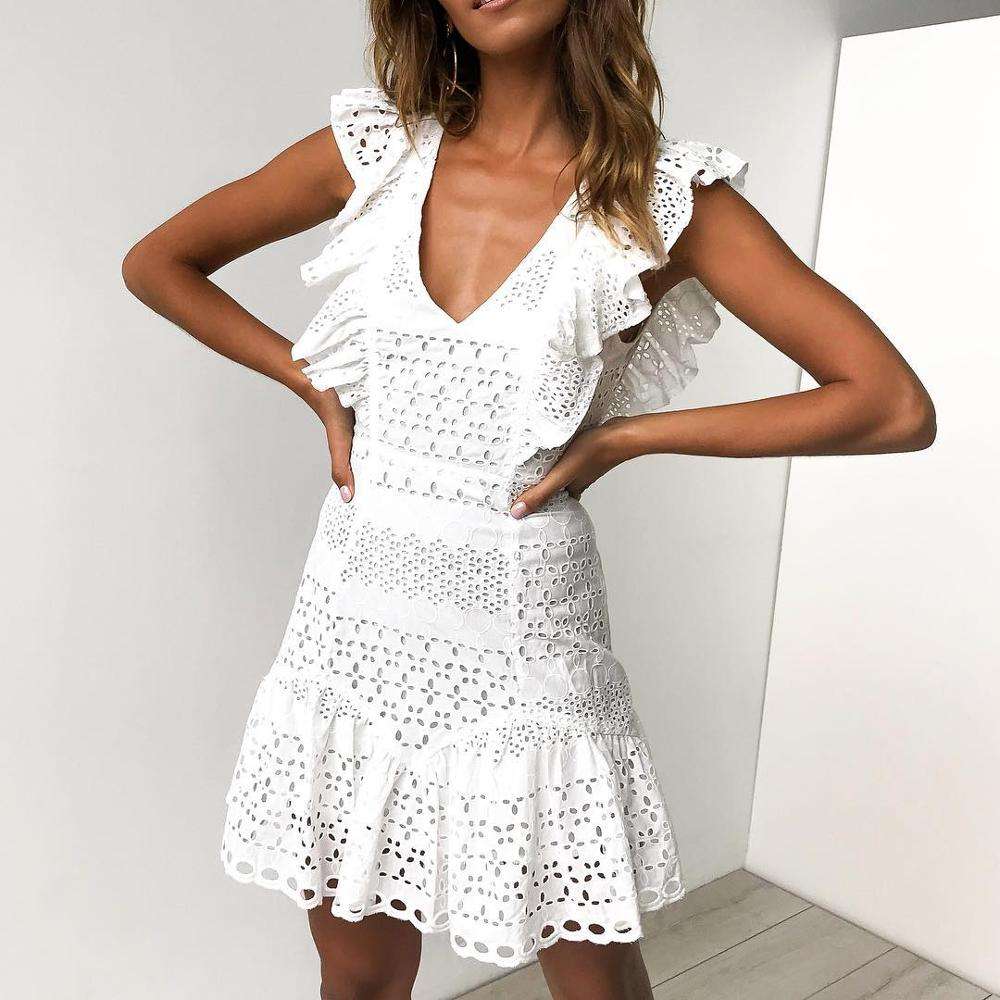 White Pink Lace V-neck Short   Cocktail     Dresses   Party Graduation Women Sexy Prom Robe Semi Formal   Dress   2019