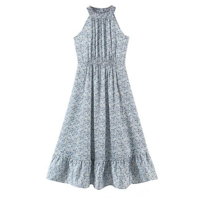 Tangada 2021 Summer Fashion Women Flowers Print Halter Dress Sleeveless Ruffles Female Casual Long Dress SL06 7