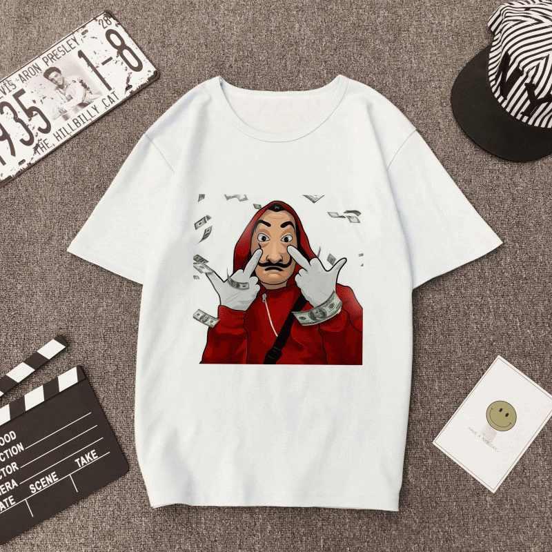 여름 새 돈 강도 Tshirt 종이 집 라 카사 드 파펠 티셔츠 보그 캐주얼 달리 마스크 카사 드 파펠 티셔츠 여성 톱