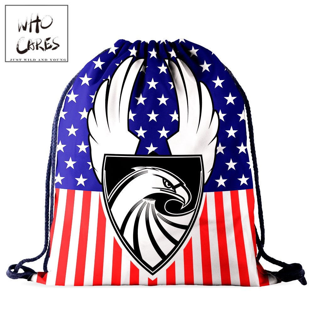 Who Cares Gym Women Drawstring Bag Girl Backpack Eagle 3D Printing Red Blue White Stars Waterproof Travel Bag Fashion
