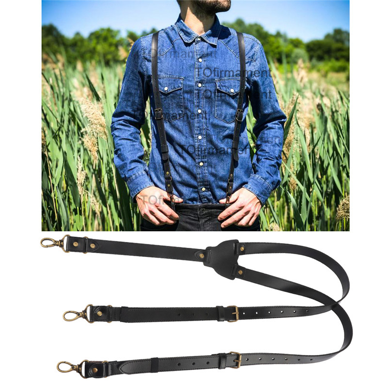 2.2cm Width Extra Large Genuine Leather Suspender Business Men Suspenders Luxury Y Back Cowhide Hook Brace