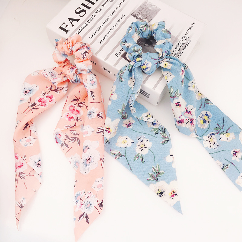 Ins Fashion Retro Floral Printed Ribbon Hair Scrunchies Women Elastic Hair Band Scarf Hair Rope Ties Girls Hair Accessories