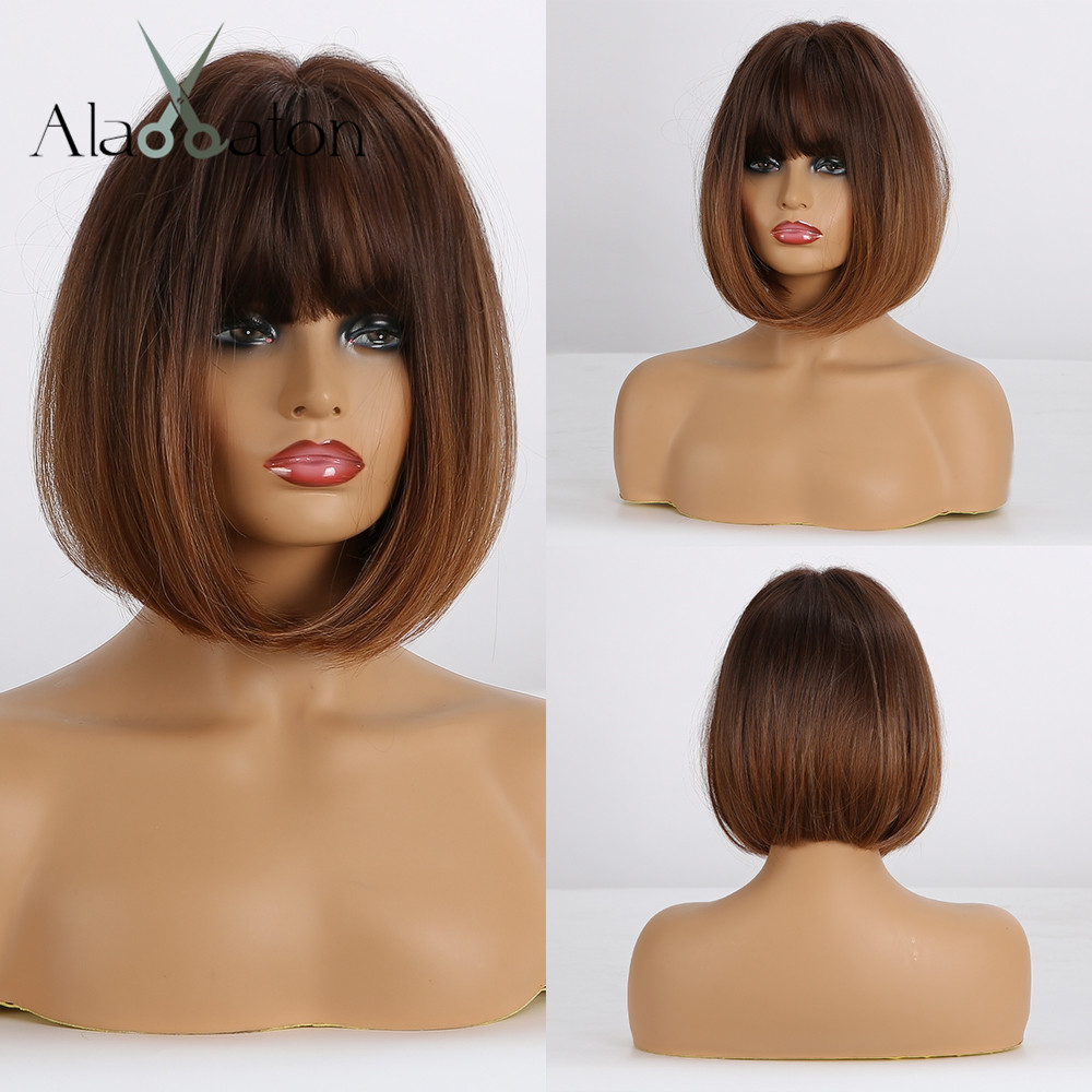 ALAN EATON Short Straight Ombre Brown Honey Blonde Synthetic Wigs With Bangs For Women Bob Wig Heat Resistant Bobo Hairstyle
