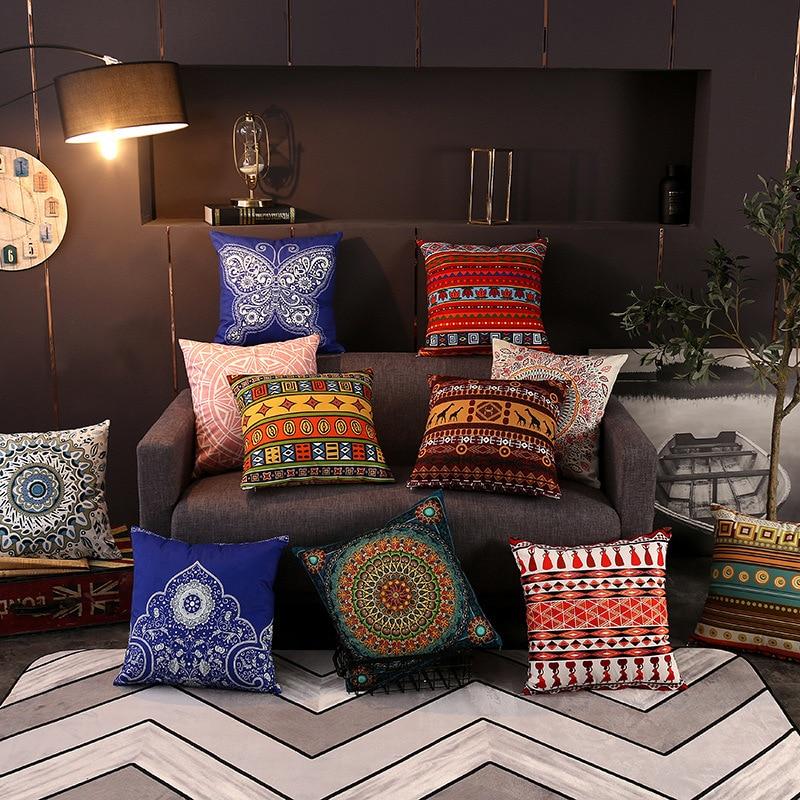 Vintage Plush Print Cushion Cover Retro Decorative Pillowcase Art Throw Pillows for Living Room 45x45cm