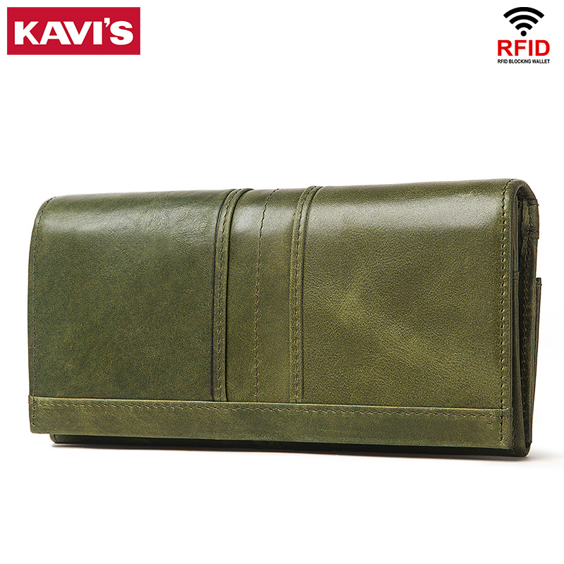 KAVIS Genuine Leather Women Clutch Wallet And Female Coin Purse Portomonee Clamp For Phone Bag Long Money Bag  Card Holder Handy