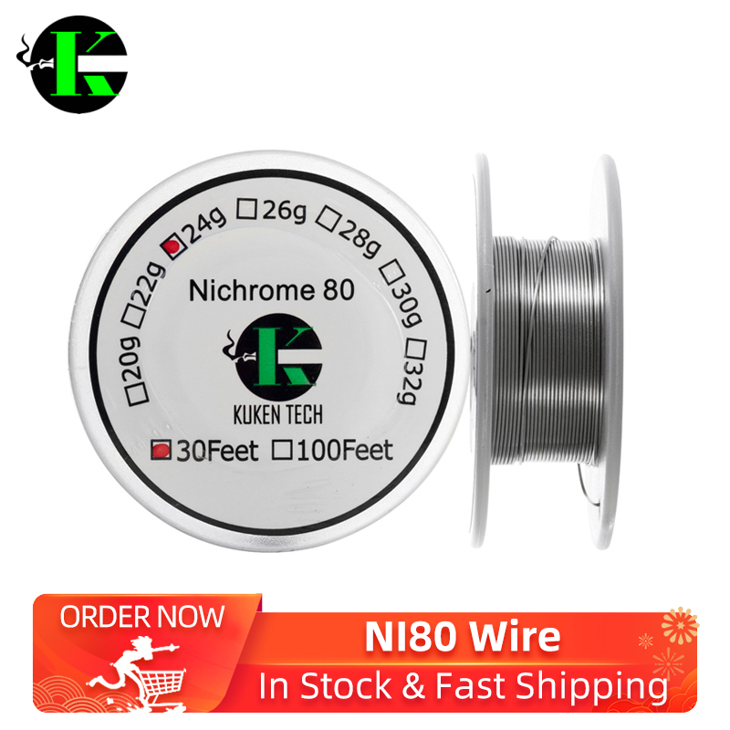 Kuken Tech 30 Feet/ROll NI 80 wire Resistance Wire for rda rat Electronic Cigarette Heating Wires DIY Vaporizer Coil Tools image