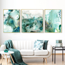 Abstract Mint Green Marble Wall Art Pictures Canvas Painting Gallery Posters and Prints Interior for Living Room Home Decor