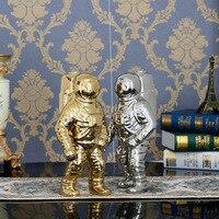 Lovely Desktop Decorative Astronaut and Robot Dcoration Ceramic Craft Children Gift Childlike Home Ornaments White/sliver/gold
