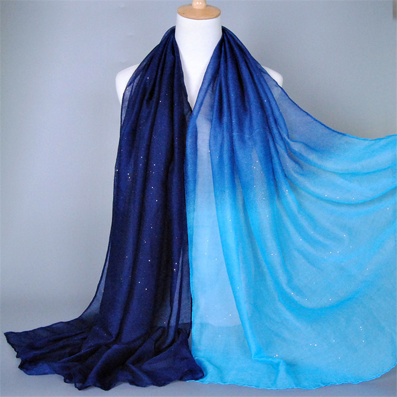 D13  1pcs High Quality Ombre Glitter  Cotton Muslim Scarf  Viscose  Headscarf Islamic Hijab Shawls And Long Wraps