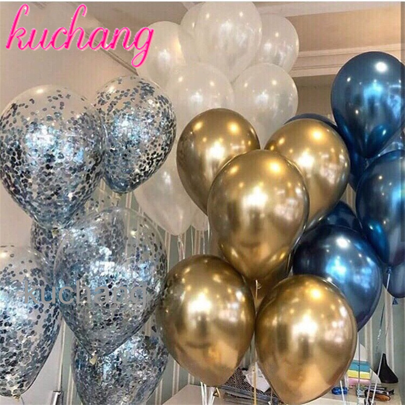20pcs/lot 12inch Blue Metallic Chrome Latex Balloons With Confetti Balloons  For Wedding Bridal Shower Theme Party Decor Globos