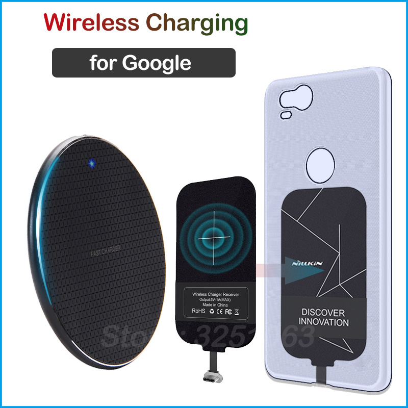 Qi Wireless Charging for <font><b>Google</b></font> <font><b>Pixel</b></font> 2 <font><b>3a</b></font> XL 2XL Wireless <font><b>Charger</b></font>+Charging Receiver Micro USB Type-C Adapter image