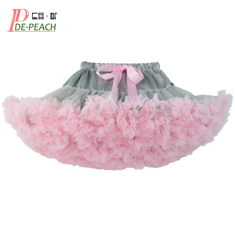 DE PEACH Baby Girls Tutu Skirt Fluffy Kids Pettiskirt Children Ballet Skirts For Girl Princess Lace Tulle Party Dance Clothes