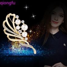 Qiongfu Glass Crystal Rhinestones Flower Brooch Wedding Bridal Bouquet Accessories Jewelry Large Brooch Pin for Women rhinestones christmas hat brooch