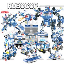 8 IN 1 City Police SWAT Generals Robot Car Building Blocks Sets DIY LegoINGLs Bricks Playmobil Educational Toys for Children city police swat helicopter car building blocks compatible legoingls brinquedos bricks playmobil educational toys for children