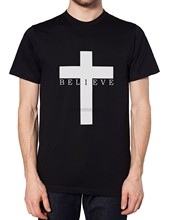 Believe Crucifix Mens Tshirt Religeon Cross Satan Goth Hipster Emo Women T Shirt Fashion Style Men TeeClassic tee(China)