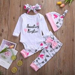 Auntie roupas infantis, roupas para bebê recém-nascido, conjunto com 4 peças, manga comprida, body + calça com estampa, laço + tiara + chapéu